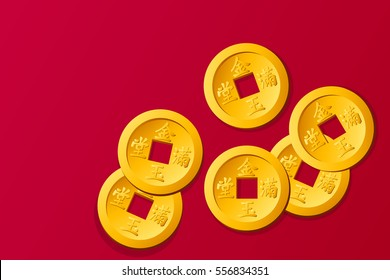 Chinese gold coin, graphic vector. The word appears translating Chinese and wealthy.