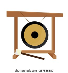 Chinese golden gong and hammer vector isolated, asian musical instrument, sport gong, traditional
