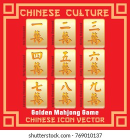 Chinese Golden Mahjong Game set in vector