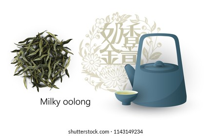 Chinese green tea. Chinese signs mean - milky oolong