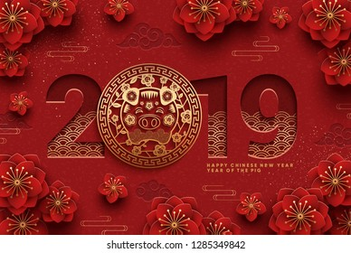 Chinese Greeting Card for 2019 New Year. Eps10 vector.