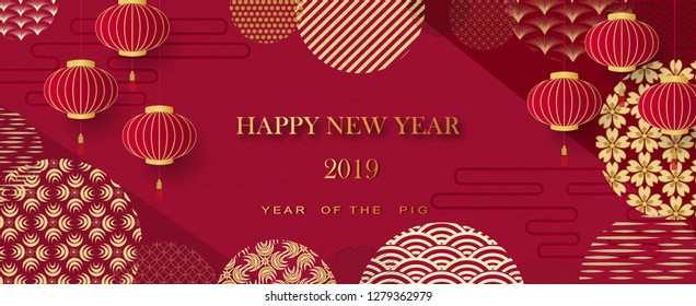 Chinese greeting card with the symbol of the zodiac for the 2019 new year. Vector illustration Lanterns and Asian elements on a red background. Happy New Year
