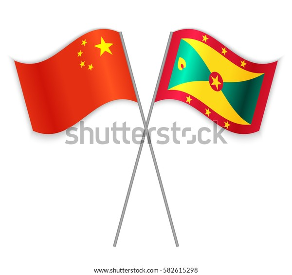 Chinese and Grenadian crossed flags. China combined with Grenada isolated on white. Language learning, international business or travel concept.
