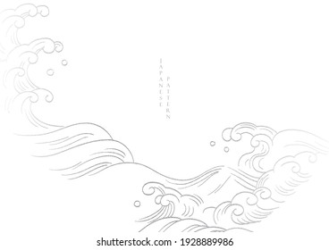 Chinese hand draw wave background with geometric pattern vector. White and grey line pattern vector. Natural landscape art with banner design and wallpaper in vintage style.