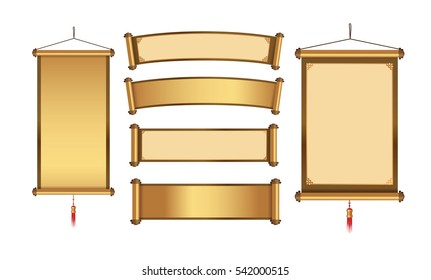 Chinese hanging banner collection for graphic element in  gold theme. Graphic resource in Asian concept.