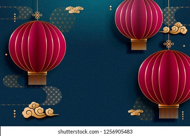 Chinese hanging red lantern blue background in paper art style