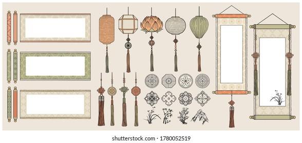 Chinese Hanging Scrolls / Oriental Vintage asian scrolls /Asian lanterns / Traditional patterns.