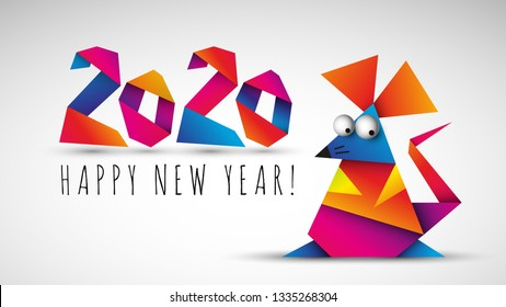 Chinese happy new year 2020. Year of the rat. Vector illustration
