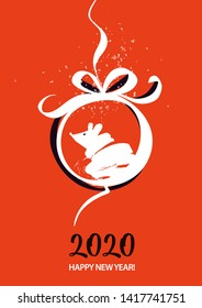 Chinese Happy new year 2020. Template card for Happy new year party with white rat, mice. Lunar horoscope sign mouse. Funny sketch mouse with long tail. Vector illustration.