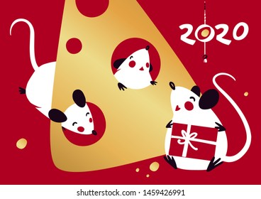 Chinese Happy new year 2020. Template card for Happy new year party with white rat, mice. Lunar horoscope sign. Hieroglyph translate mouse. Funny sketch mouse with long tail. Vector illustration.