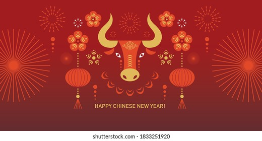Chinese Happy New Year 2021. Year of the Bull. Greetings card.