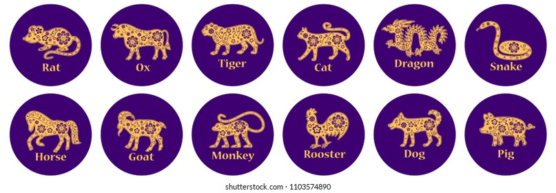Chinese horoscope 2019, 2020, 2021, 2022, 2023, 2024, 2025 years. Rat, ox, tiger, cat, dragon, snake, horse, goat, monkey, rooster, dog, pig. Floral gold and violet ornament. Animal symbols