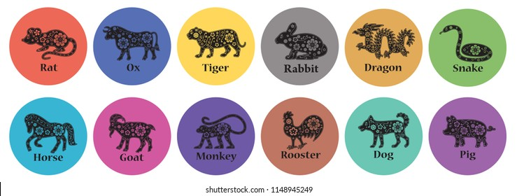 Chinese horoscope 2019, 2020, 2021, 2022, 2023, 2024, 2025 years. Floral ornament. Animal symbols. Colorful vector signs. Rabbit