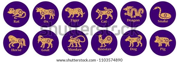 Chinese Horoscope 2019 2020 2021 2022 Stock Vector (Royalty