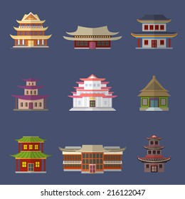Chinese house ancient temples oriental buildings icons set isolated vector illustration