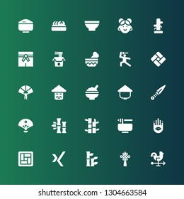 chinese icon set. Collection of 25 filled chinese icons included Rooster, Chinese knot, Bamboo, Xing, Tatami, Buddhism, Noodles, Sensu, Kunai, Kasa, Rice, Paper fan, Martial arts