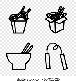 Chinese icons set. set of 4 chinese outline icons such as chinese fast food, asian food, noodles fast food