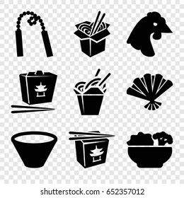 Chinese icons set. set of 9 chinese filled icons such as chicken, chinese fast food, noodles fast food, fan, food, bowl
