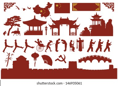 Chinese icons, vector