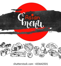 chinese japanese asian cuisine with symbol of food cut out of paper, vector illustration, ink brush background