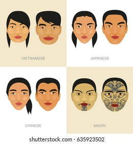 Chinese. Japanese. Maori. Vietnamese. Portrait. Man and woman. Vector drawing.