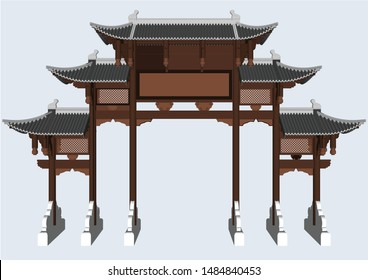 Chinese and Japanese style entrance poles