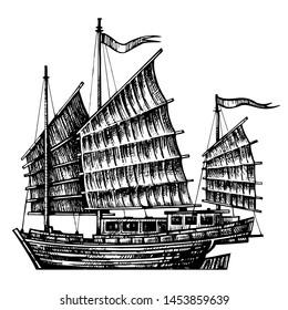 Chinese Junk boat, hand drawn design element sailing ship. Vintage vector  engraving illustration
