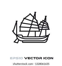 Chinese Junk sail ship  flat line icon vector illustration