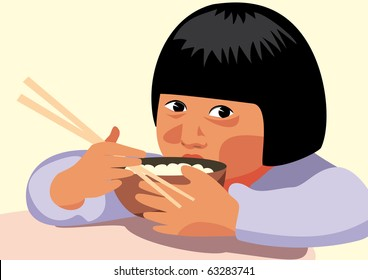 Chinese kid eating rice with chopsticks