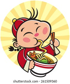 Chinese Kid holding a bowl of Chinese Noodle