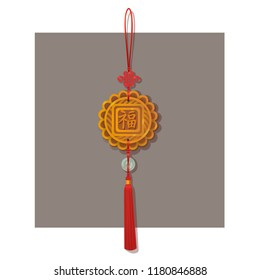Chinese knot lucky charm pendant with blessing word. Traditional lucky knot tassel hanging mascot decoration with gold and jade disks isolated on white vector background illustration