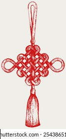 Chinese knot. Symbol of good luck. Doodle style