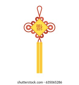"Chinese knot with tassel and Chinese character using in lunar new year means ""wish good luck and fortune comes"" , flat design vector"