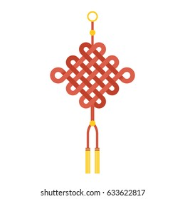 "Chinese knot with tassel using in lunar new year means ""wish good luck and fortune comes"", flat design vector"