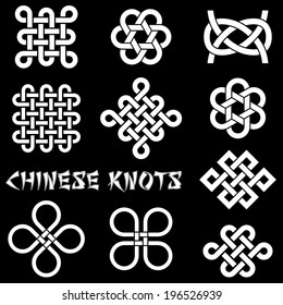 Chinese knots (Clover Leaf, Flower Knot, Endless Knot, etc.) set. Vector illustration.