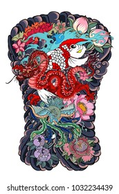 Chinese Koi carp with red dragon and peacock tattoo design.peach with peony and plum flower on cloud background.Traditional Japanese tattoo design for back body.