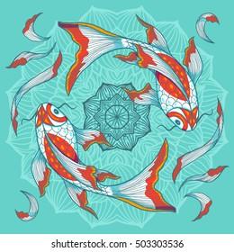 Chinese koi fishes swimming around lotus flower, hand drawn vector illustration.