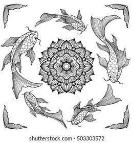 Chinese koi fishes swimming around lotus flower, hand drawn vector illustration, black and white line art, coloring book page for adults.