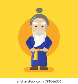 Chinese kung fu master. Flat design vector