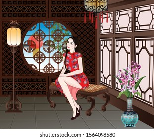 Chinese lady in red dress sitting in luxury room- vector