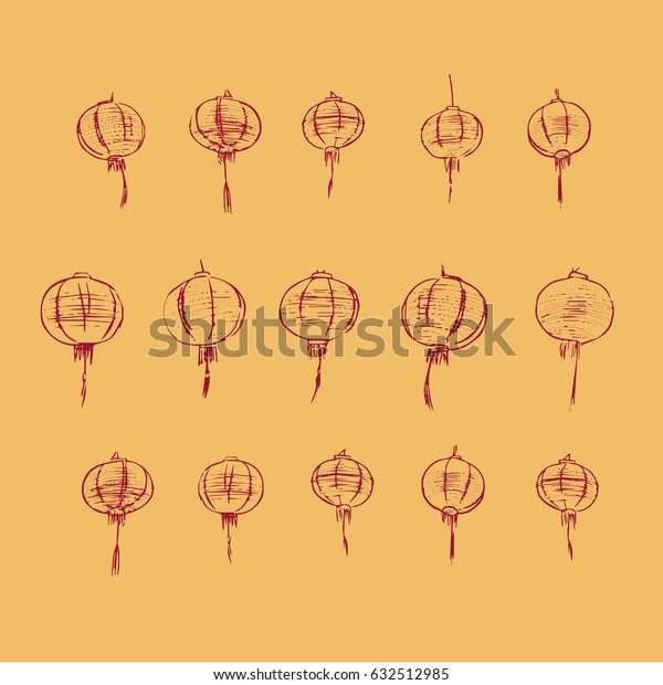 chinese lamps pattern , hand drawn sketch vector.