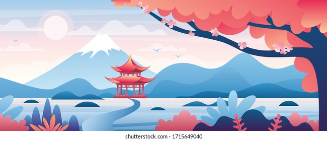 Chinese landscape vector illustration. Cartoon asian traditional temple, pavilion or house with oriental pagoda in rural China, flat mountain lake scenery and blooming tree. Travel to Asia background