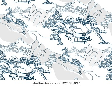chinese lanscape japanese vector pattern