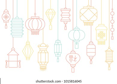 Chinese lantern banner for lunar new year and mid autumn festival, thin line illustration