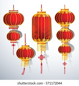 Chinese Lantern Collection set ,vector illustration