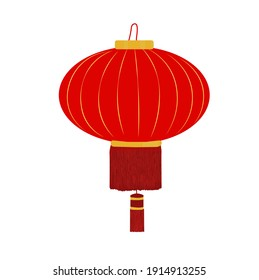 Chinese lantern vector stock illustration. Red paper lantern. Traditional Chinese lamp. Isolated on a white background.