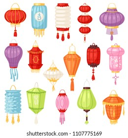 Chinese lantern vector traditional colorful lantern-light and oriental decoration of china culture for asian celebration illustration set of festival decor light isolated on white background