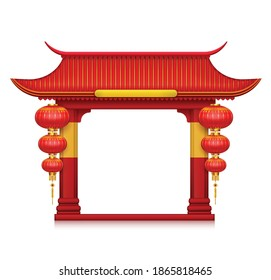 Chinese lanterns gates realistic composition red small air balloon made of paper vector illustration