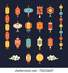 Chinese lanterns icons set. Different lanterns for decoration, greeting card, packaging, interior design.