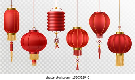 Chinese lanterns. Japanese asian new year red lamps festival 3d chinatown traditional realistic element vector asia religion symbol set